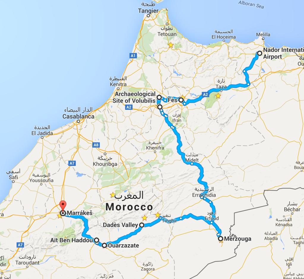 Naplánovaná cesta půjčeným autem - 1400km - klikni pro odkaz na mapu